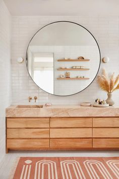 Here there are master bathroom home decoration on a budget, suggestions for small bathrooms, guest bathroom design a few ideas and diy bathroom decoration BathroomIdeas BathroomDesign Wood Bathroom, Bathroom Colors, Bathroom Interior, Bathroom Modern, Neutral Bathroom, Master Bathrooms, Dream Bathrooms, Master Baths, Round Bathroom Mirror