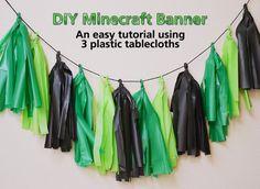 Minecraft Party Ideas - DIY Minecraft Banner - Tassel Tutorial - Plastic Tablecloths