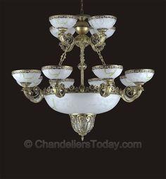 Alabaster Chandelier #073 8+4+3 Light