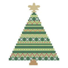 """Christmas Ornaments Cross Stitch Patterns of Christmas Tree, Christmas Ball and Snowflake Small for 4"""" Square area"""