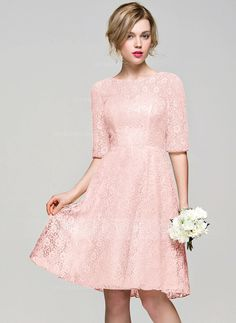A-Line/Princess Scoop Neck Knee-Length Zipper Up Sleeves 1/2 Sleeves No Champagne Spring Summer Fall General Plus Lace Height:5.7ft Bust:33in Waist:24in Hips:34in US 2 / UK 6 / EU 32 Bridesmaid Dress