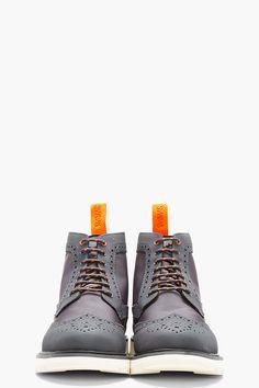 SWIMS Grey Charles 2 Wingtip Brogue boots