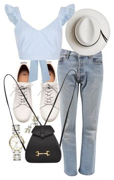 """Untitled #21563"" by florencia95 ❤ liked on Polyvore featuring Burberry, Levi's, H&M, Calypso Private Label, River Island and Gucci"