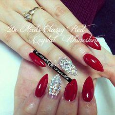 Classy Red crystal rhinestone Stiletto nails 20x,hand painted +Glue
