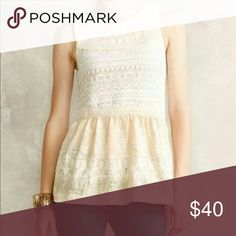 One September peplum embroidered top Pullover style, in great shape. Only worn once. Beautiful & so detailed! Anthropologie Tops Tank Tops