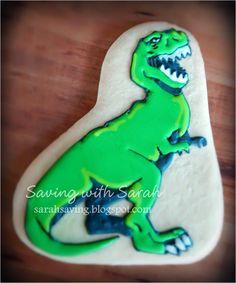 T-Rex Cookie, Dinosaur Cookies #dinosaurparty #dinosaurs Decorated Cookies