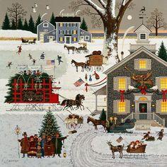 "Charles Wysocki - ""Cape Cod Christmas"""