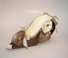 Large Elegant Brown Glitter Paper Shoe by apreciousmemory on Etsy, $15.00