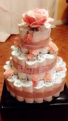 Flower Baby Girl Diaper Cake!