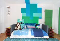 love the green doors in white room.  Ben Moore Seaweed  Jack Be Quick: A Boy's Room Makeover