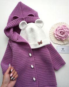 Кардиган с капюшоном - купить или заказать в интернет-магазине на Ярмарке Мастеров | Стильный, универсальный, теплый кардиган.<br />… Baby Knitting Patterns, Crochet Tunic Pattern, Knitting For Kids, Crochet For Kids, Baby Patterns, Diy Crafts Knitting, Diy Crafts Crochet, Knitted Baby Clothes, Knitted Hats