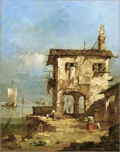 FRANCESCO GUARDI. CAPRICE WITH A RUINED HOUSE ALONG THE LAGOON. oil on canvas.