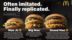 For those who think the Big Mac is a bit too big, McDonald's is coming out with the Mac Jr. For those who think the Big Mac isn't quite big enough, McDonald's is unveiling the Grand Mac Mac S, Big Mac, Hamburgers, Bento Recipes, New Recipes, Beef Patty, Fast Food Chains, Fast Food Restaurant, Mcdonalds