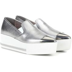Miu Miu Metallic Leather Platform Slip-on Sneakers (1 047 495 LBP) ❤ liked on Polyvore featuring shoes, sneakers, flatforms, silver, flatform sneakers, metallic silver sneakers, leather sneakers, miu miu sneakers and slip-on shoes