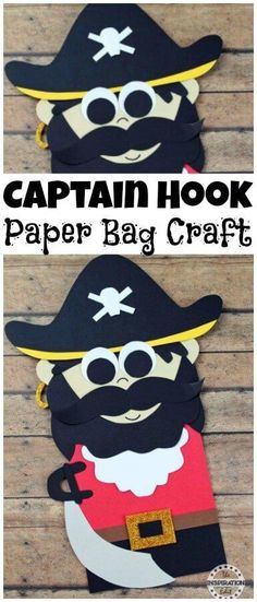 Captain Hook Paper Bag Pirate Puppet · The Inspiration Edit. Paper Bag Pirate Puppets Kids Will Love · The Inspiration Edit This is a fabulous Preschool Craft or paper bag craft idea for little ones. Get creative with this Pirate Idea for Kids and fantast Craft Projects For Adults, Crafts For Girls, Diy For Kids, Craft Ideas, Kids Fun, Kids Crafts, Pirate Activities, Activities For Kids, Creative Crafts