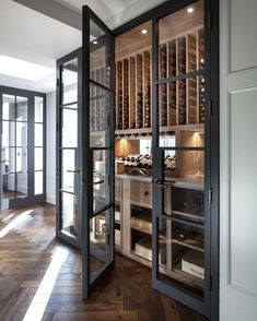 Glass Wine Cellar, Home Wine Cellars, Wine Cellar Design, Wine Cellar Modern, Home Wine Bar, Under Stairs Wine Cellar, Wine Cellar Basement, Küchen Design, House Design