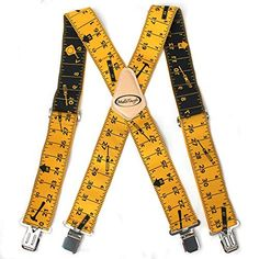 Black Mens Tape Measure Suspenders,2 Inch Wide Adjustable Work Suspenders for Tool Belts Elastic Braces with Very Strong Clips Heavy Duty