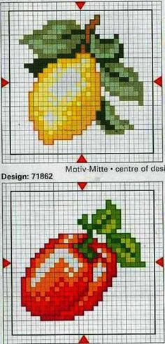 New embroidery stitches baby punto croce Ideas Cross Stitch Fruit, Cross Stitch Kitchen, Cross Stitch Flowers, Cross Stitching, Cross Stitch Embroidery, Embroidery Patterns, Hand Embroidery, Cross Stitch Charts, Cross Stitch Designs