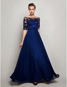 Vestido de Noche Azul Marino Oscuro de Tul y Gasa @ Vestidos de Fiesta Baratos