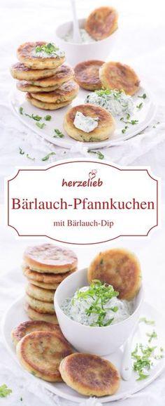 Food - Bärlauch-Rezepte. Mit diesem Rezept für Bärlauch-Pfannkuchen mit Bärlauch-Dip schmeckt der Frühling richtig gut! Rezept auf meinem Foodblog herzelieb