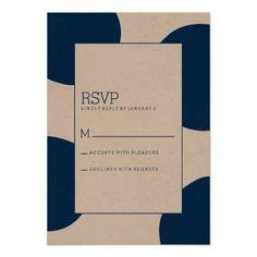 Navy Spots Spots | Modern Wedding RSVP Card