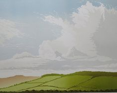 Lino cut print of clouds and big sky over East Devon countryside and Woodbury hillfort