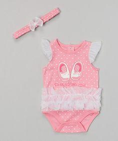 Look what I found on #zulily! Pink Ruffle 'Daddy's Little Girl' Bodysuit & Headband #zulilyfinds
