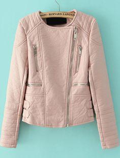 Pink Long Sleeve Zipper Crop PU Leather Jacket 45.00