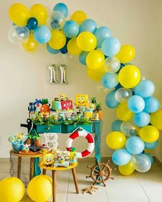 spongebob party decoration ideas do 7 a ideas para birthday spongebob birthday party decoration ideas. Diy Garland, Balloon Garland, Balloon Decorations, Birthday Party Decorations, Balloons, Spongebob Birthday Party, Boy Birthday, Spongebob Party Ideas, 25th Birthday Parties