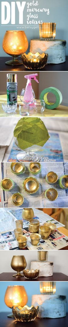 DIY Gold Mercury Glass // how to create your own faux mercury glass  #diy #howto #wedding #crafts #paint #gold #votives #mercuryglass