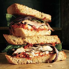 Portobello Sandwiches with Red Pepper Sauce by Cooking Light. This hearty sandwich, flavored with Red Pepper Sauce, satisfies even the biggest carnivorous appetites. Serve these veggie sandwiches with Grapefruit, Walnut, and Feta Salad.