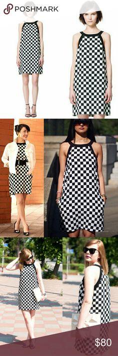 867a5b4c5b87 Checker Print Zara Dress Black and White Checkered Print Knee Length  Versatile Style Blogger Favorite Zara