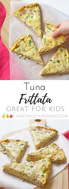 Tuna Frittata a great lunch for kids. Finger food, kids food, family friendly food via @hlittlefoodies Fish Recipes For Kids, Finger Foods For Kids, Baby Finger Foods, Healthy Meals For Kids, Baby Food Recipes, Kids Meals, Healthy Snacks, Cooking Recipes, Healthy Recipes