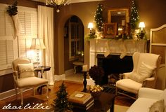 beautiful living room decked out for christmas