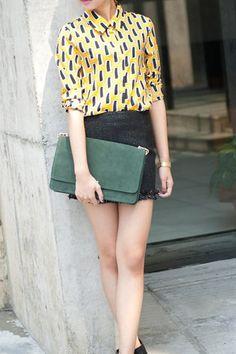 Lapel Long Sleeve Color Block Chiffon Shirt,Cheap in Wendybox.com