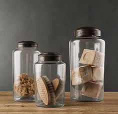 sleek bath storage - glass jars with aged zinc lids