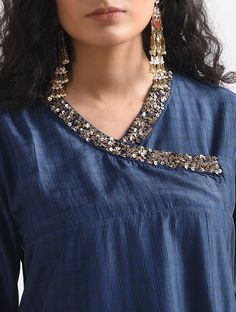 Blue Embroidered Silk Kurta with Sequins Work Kurti Embroidery Design, Embroidery Neck Designs, Embroidery Suits, Hand Embroidery, Stylish Dress Designs, Dress Neck Designs, Designs For Dresses, Kurti Sleeves Design, Kurta Neck Design