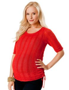 A Pea in the Pod 3/4 Sleeve Tie Detail Maternity Sweater