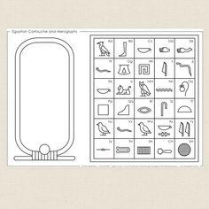 Childrens colouring in activity - Egyptian Cartouche and Hieroglyphs - CleverPatch