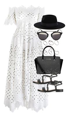 Outfit with a summer party by ferned on Polyvore featuring polyvore, fashion, style, Zimmermann, Valentino, Michael Kors, Christian Dior, ASOS, Warehouse and clothing