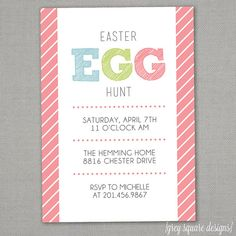 Easter Egg Hunt Invitation by greysquare on Etsy, $12.00