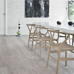 white parsons table + hans wegner chairs for dining room OR DO RH ROUGH HEWNED RECLAIMED OAK TABLE AND TEH WHITE CHAIRS WITH OAK SEATING