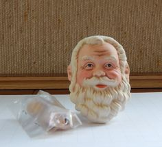 """Porcelain Santa Claus Head and Hands/ Round Bottom Style 3'' High/Christmas St.Nick Old World Man Doll Parts/Picture on 1/2"""" Graph/Item #151 by RedWickerBasket on Etsy"""