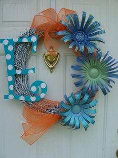 Monogram Initial Letter Wreath with Can Flowers by CustomCreated, $65.00