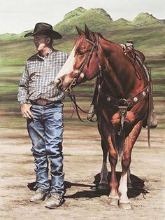 Handsome Stranger ~ watercolor by Kara Castro ~ cowboy & horse