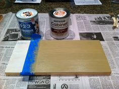 The base coat, Rustoleum's Cabinet Transformations Kit in Potter's Wheel. Also dry brushed after being painted on to let some of the primer show through.