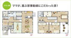 プラン例 ママが、喜ぶ家事動線にこだわった家! Dream House Plans, House Floor Plans, My Dream Home, Craftsman Floor Plans, Sims House, Japanese House, House Roof, House Made, House Layouts