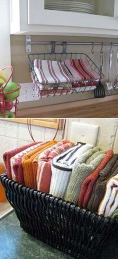 Storing dishcloths in a basket is much better than them being in the drawer, as you can reach them quickly:
