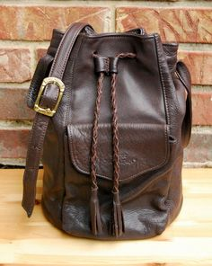 Vtg 1970s Stone Mountain Chocolate Brown Leather by MelBelleChic, $45.00