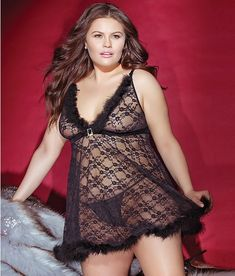 0630b61a67249 Coquette  Plus Size Night Before Xmas Fur Babydoll Set 3831X Bare  Necessities